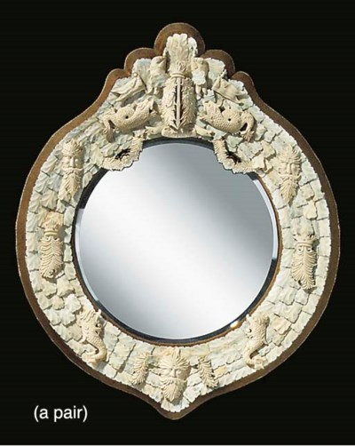 A PAIR OF BONE VENEERED MIRROR