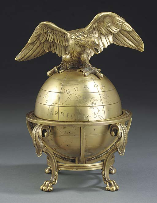 A FRENCH GILT BRASS INKWELL MO