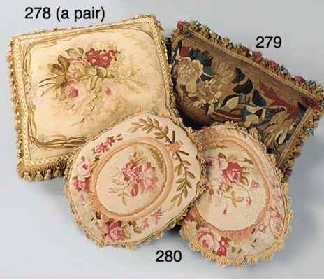 A PAIR OF AUBUSSON TAPESTRY OV