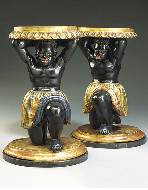 TWO ITALIAN POLYCHROME AND GIL
