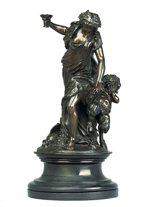 A FRENCH BRONZE BACCHIC GROUP