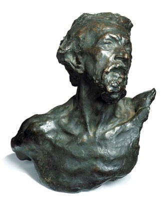 A BRONZE BUST OF A BEARDED MAL