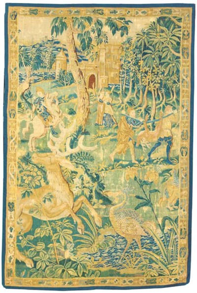 A FLEMISH HUNTING TAPESTRY PAN