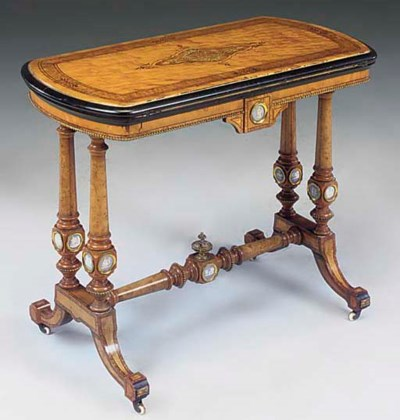 A VICTORIAN SATINWOOD GILT MET