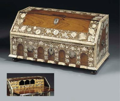 AN ANGLO INDIAN IVORY INLAID R