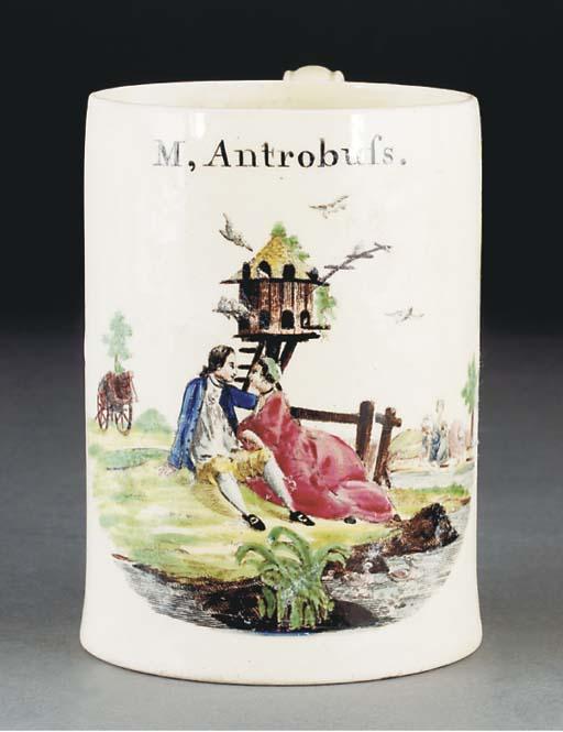 A Staffordshire creamware mug