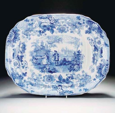 A Davenport pottery blue and w