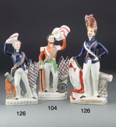 Two Staffordshire figures of S