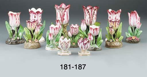 Four English porcelain tulip-s