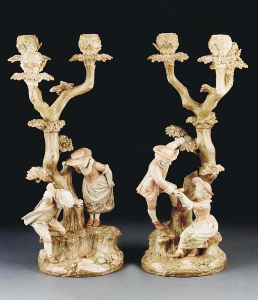 Two Royal Worcester blush-ivor