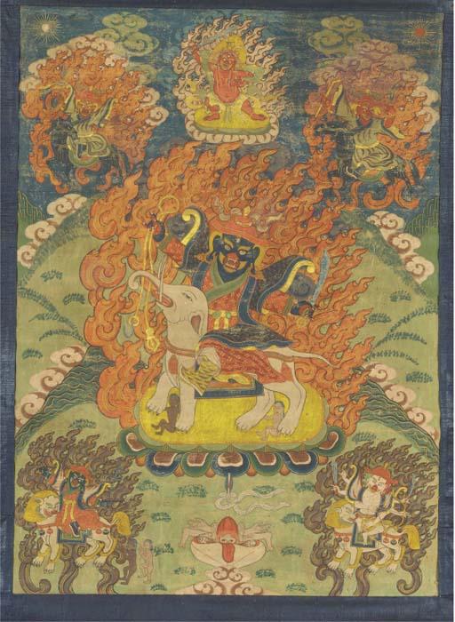 A Tibetan thangka depicting th