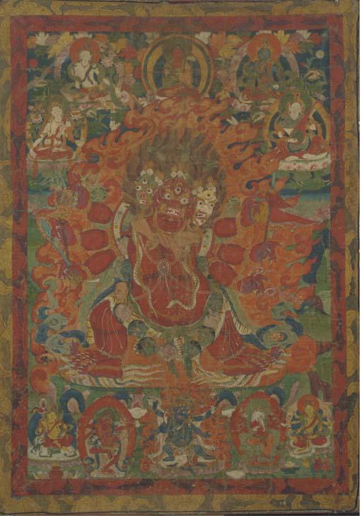 A Tibetan Thangka of a tri-hea