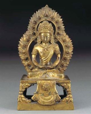 A Sino-Tibetan gilt bronze fig