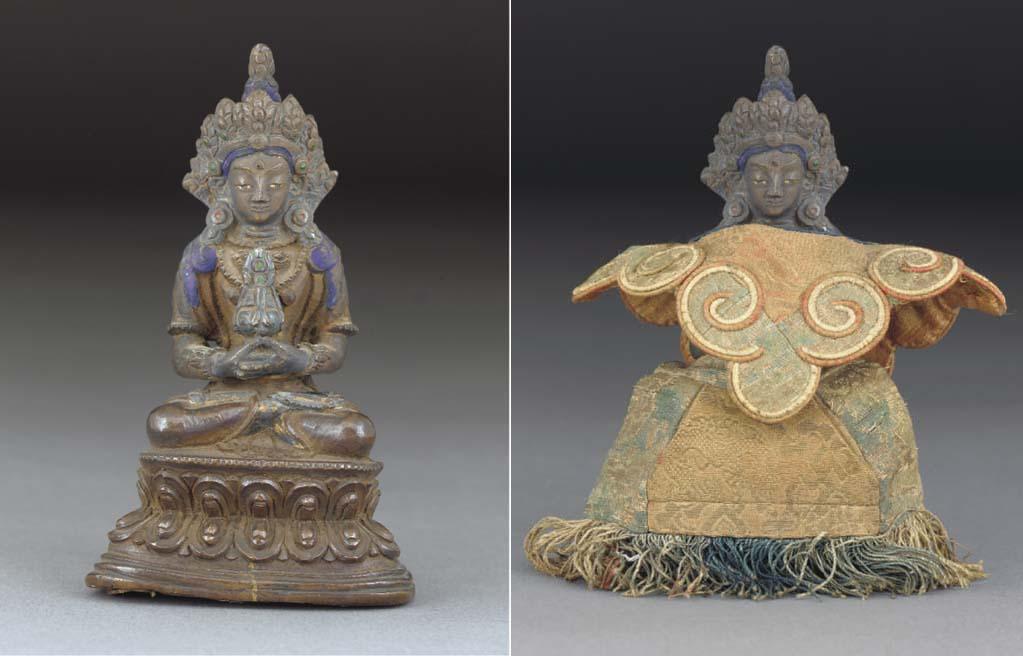 A Tibetan painted copper model