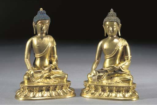 A pair of Sino-Tibetan gilt br