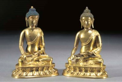 A pair of Sino-Tibetan gilt br