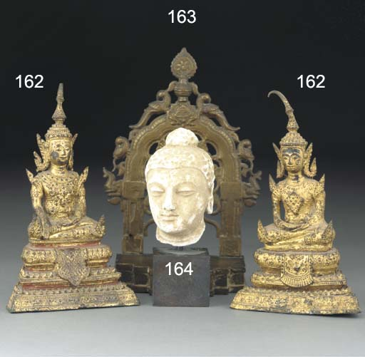 Two Thai bronze gilt lacquered