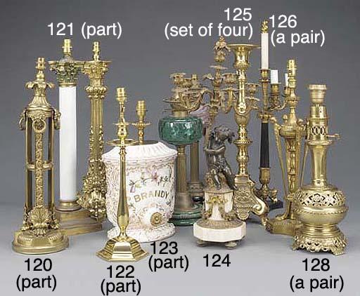 A pair of Edwardian brass tabl