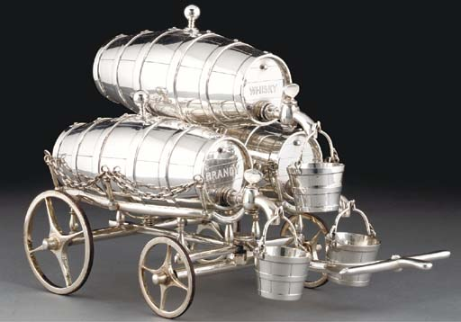 A silver-plated triple barrel