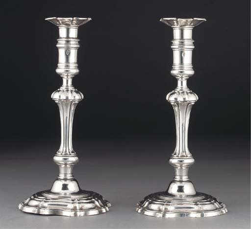 A Pair of Irish Silver Candles