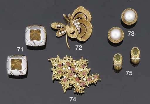 A ruby and diamond clip brooch