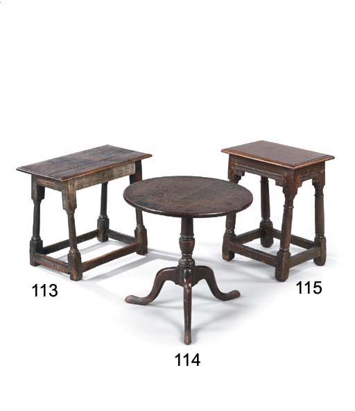 AN OAK JOINED STOOL/TABLE