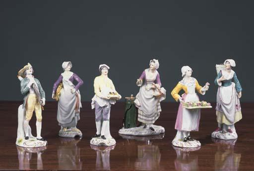 Six German porcelain figures o
