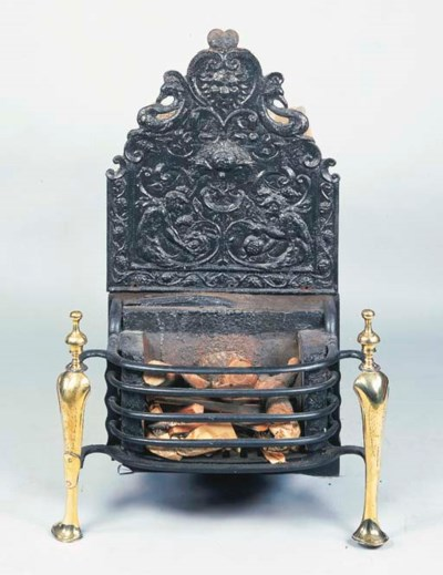A CAST IRON AND BRASS FIRE GRA