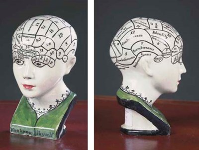 A pearlware phrenology bust