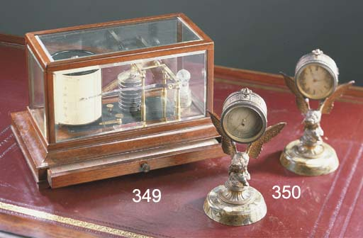 A French gilt-spelter and variegated marble desk set