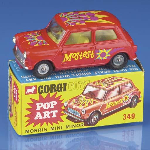A Corgi red 349 Pop Art Morris Mini Minor