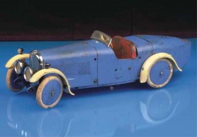 A Meccano clockwork blue and c