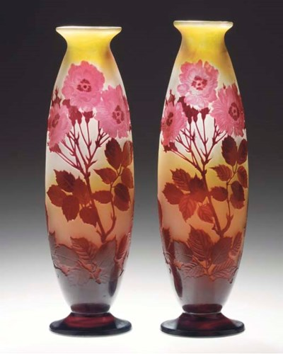 A PAIR OF CAMEO GLASS VASES