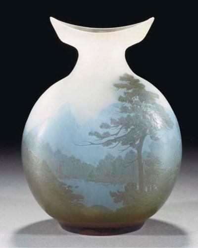 A CAMEO GLASS LANDSCAPE FLASK
