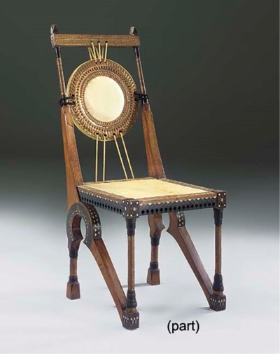 AN INLAID WOOD SIDE CHAIR