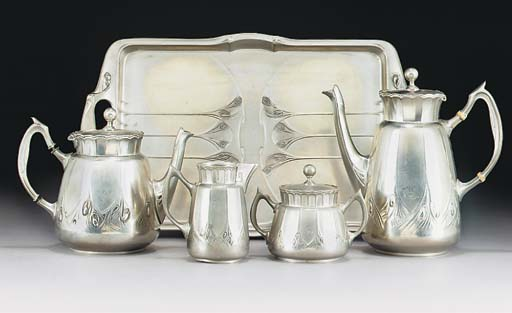 A PEWTER TEA AND COFFEE SERVIC