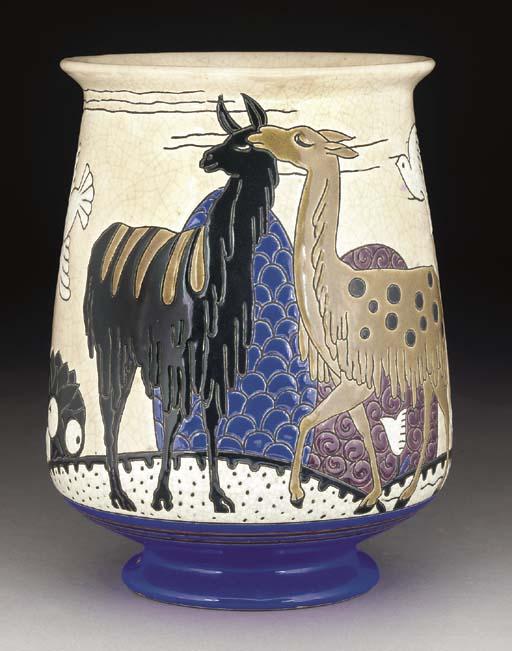A polychrome earthenware vase