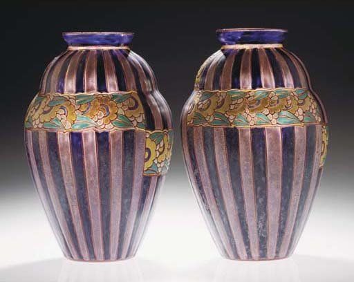 A pair of enamelled glass vase
