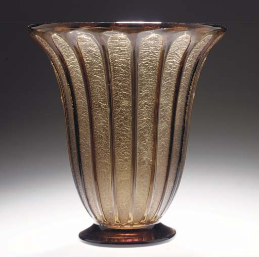 A large acid-etched glass vase