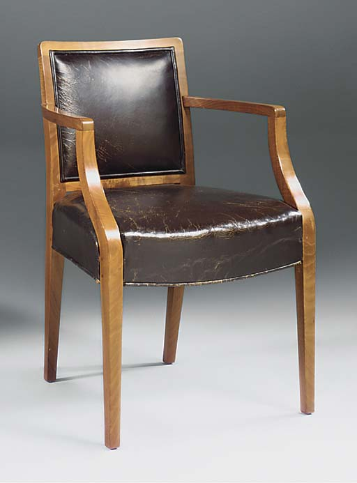 A WALNUT OPEN ARMCHAIR