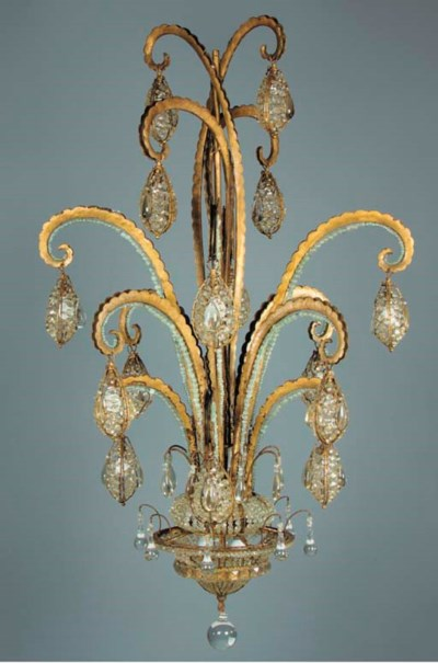 A CRYSTAL AND GILT METAL CHAND