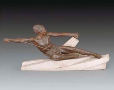A bronzed spelter figure