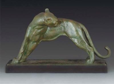 A green-patinated bronze figur