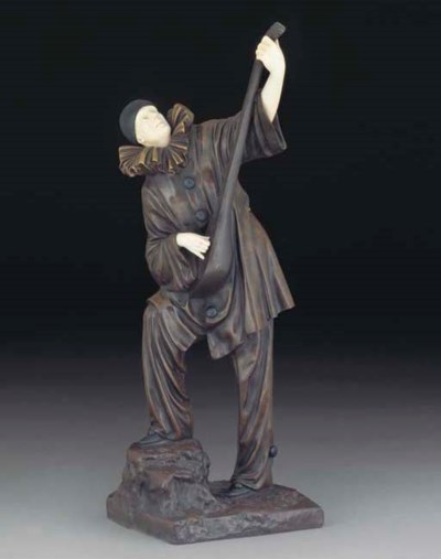 'Pierrot' A patinated bronze a
