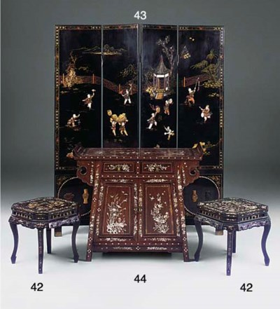 A JAPANNED GILT DECORATED AND