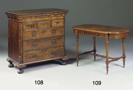 A late Victorian walnut and pa