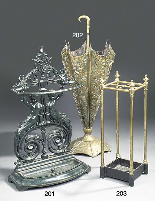 A brass umbrella stand