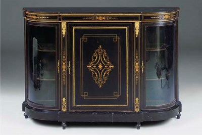 A LATE VICTORIAN EBONISED, INL