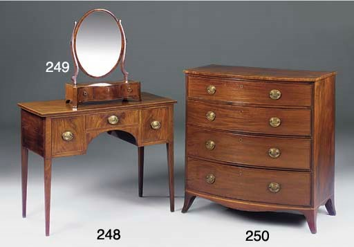 A GEORGE III MAHOGANY AND CHEQ