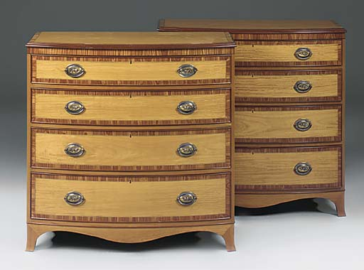 A PAIR OF SATINWOOD AND TULIPW